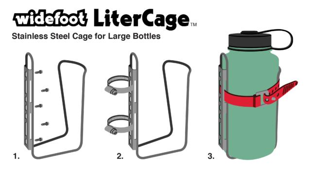 LiterCage Diagram showing mounting options and Nalgene Bottle